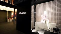 Prada luxury fashion boutique. - stock footage