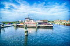 Hatteras, nc, usa - august 8, 2014 :  ferry transport boat at cape hatteras Stock Photos