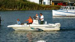 Pleasure boat people, cruise river Stock Footage