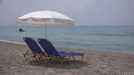 Stock Video Footage of Summer Mediterranean Sea View, Sunbeds, Chairs on Tropical Beach