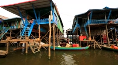 Floating village view Stock Footage