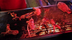 Seafood, frogs, meat pieces being fried on a charcoal grill. Stock Footage