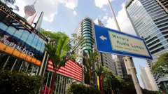 Menara Kuala Lumpur tower street sign. Stock Footage