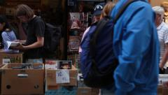 Stockholm Bokbord - world's longest book market Stock Footage