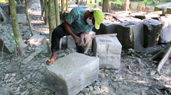 Stonecutter at restoration works Stock Footage