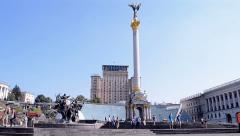 Kiev, Independence monument on Kreshatik, Ukraine hotel. Stock Footage