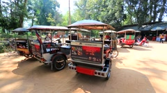 Tuk tuks parking near Preah Khan temple Stock Footage