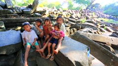 Cambodian children at Beng Melea Temple Stock Footage