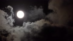 Ultra HD 4K Full Moon in Clouds on Sky Night View Moon Light, Evening Background Stock Footage