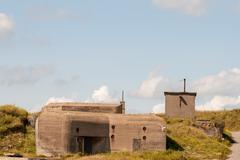 German wwii bunker in the dunes of ostend belgium Stock Photos
