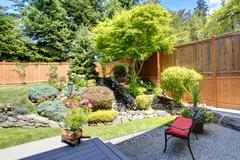 Beautiful landscape design for backyard garden Stock Photos