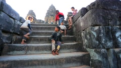 Cambodian children at Bakong temple Stock Footage