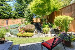 beautiful landscape design for backyard garden - stock photo