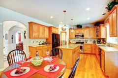 Kitchen room interior in luxury house Stock Photos