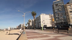 Rambla of Pocitos in Montevideo - stock footage