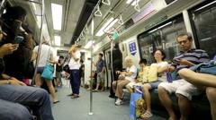 People in MRT train. Stock Footage
