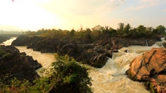 Khon Phapheng waterfall Stock Footage