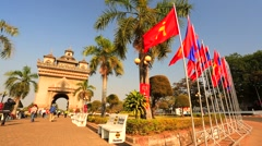 Patuxai Arch monument Stock Footage