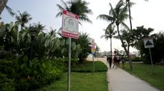 Warning signs at Sentosa beach. Stock Footage