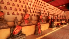 Backpacker visit Wat Si Saket temple Stock Footage