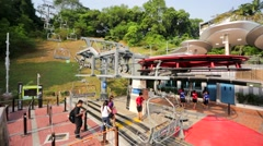 Tourist take a Skyride at Sentosa island. Stock Footage