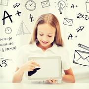Girl with tablet pc at school Stock Illustration