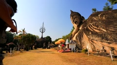 Tourists visit Buddha Park Stock Footage