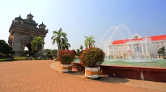 View of Patuxai park Stock Footage