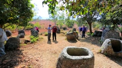 Tourists visit plain of Jars Stock Footage