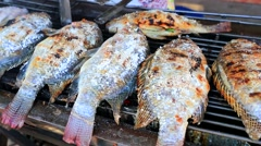Fish on a charcoal grill - stock footage