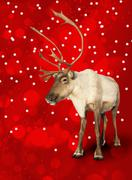 caribou reindeer on red - stock illustration