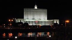 White house, Moscow, Russia. Night view Stock Footage