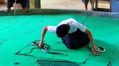 Snake handler shows his tricks - stock footage