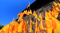 Flags of Buddhism Stock Footage