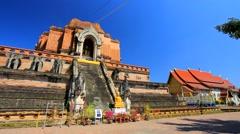Backpacker visit Wat Chedi Luang - stock footage