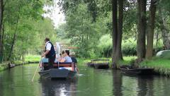 Tourist on a boat trip  through the channels of Spreewald, The German Venice Stock Footage