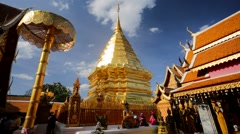 People visit the the Doi Suthep Temple. Stock Footage