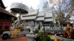 Silver monastery in Wat srisuphan Stock Footage