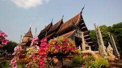 Backpacker visits Wat Lok Molee temple Stock Footage