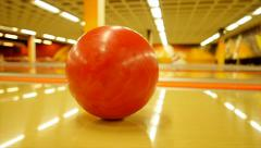 Slow motion of rolling bowling ball - bowling alley - hobby sports - activity Stock Footage