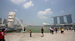 Tourists visit Singapore Merlion. Stock Footage