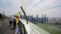 Tourists visit SkyPark observation deck - stock footage