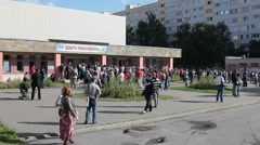People queue to buy swimming season ticket for a child, St Petersburg, Russia Stock Footage