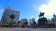 Plaza Independencia in Montevideo Stock Footage
