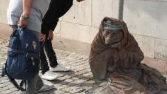 Homeless fox sculpture in central Stockholm, Sweden Stock Footage
