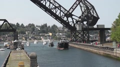 Two Ships Enter The Ballard Locks Stock Footage