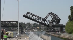 Railroad Drawbridge Section Being Raised At Ballard Locks Stock Footage