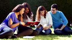 Outdoor Group Bible Study Stock Footage