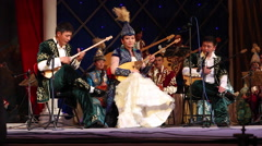 CULTURAL PERFORMANCE KAZAKH NATIONAL THEATRE DOMBRA Stock Footage