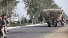 Hay Truck in Indian Street Stock Footage